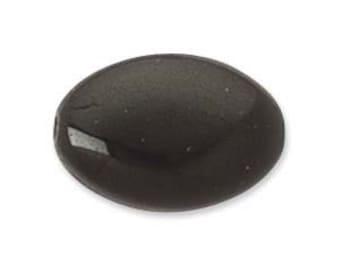 12 x 9mm Flat Oval Bead, Opaque Black, 12mm Black Glass, 12mm Jet Glass,  Black Glass Flat Oval Glass, Jet Black Oval Glass, Black Oval Bead