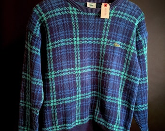 Vintage Izod Lacoste Check Tartan Plaid Sweater (Size M)