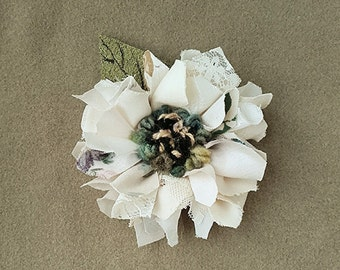 Fabric and leather corsage, brooch, pin on flower, lapel pin, rag rug flower,cream shades
