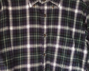 Green Check Cotton Flannel Shirt Small