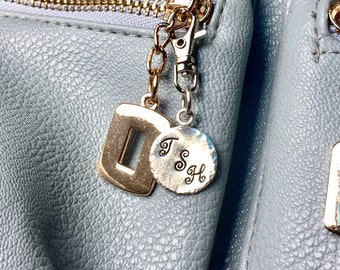 Personalized Silver Round Purse/Zipper Charm  - Hand Stamped 16 mm Round Silver Tone