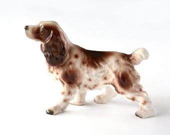 Vintage dog figurine, English Springer Spaniel, porcelain dog