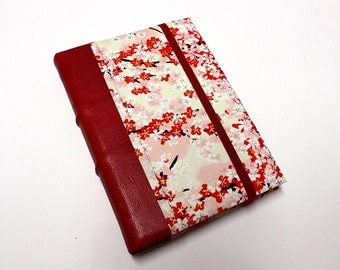 Leather Journal - Red Flowers