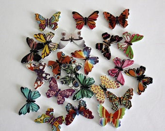 Butterfly Buttons - Wood - 10 Count