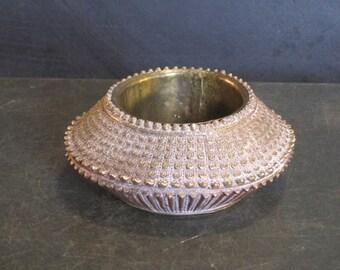 Small Vintage Textured Brass Bowl Dish Planter
