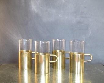 Vintage Glasses with Brass Holders-Set of Four-Irish Coffee-Tea Mugs