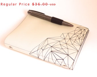 refillable Leather Journal- Geometric Mountain Sketchbook in Creme Leather with Pen Closure, size small 4x6 paper, personalize