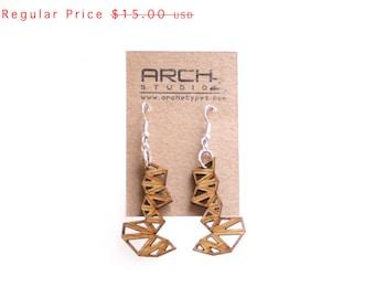 wood jewelry - Bamboo Triangle Cluster Earrings - 1 Ply.  modern geometric laser cut. eco friendly