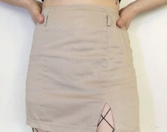 Khaki Slit Mini Skirt