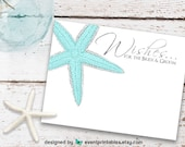 Wedding Wish Cards, Starfish Beach Wedding Wishes for the Bride and Groom, Nautical Wish Cards, Printable Digital File by Event Printables