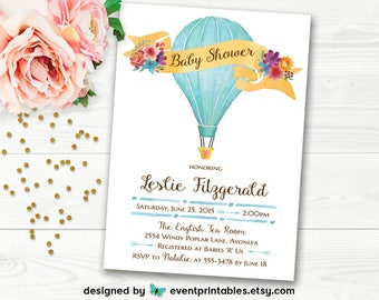 Hot Air Balloon Baby Shower Invitation, Watercolor Bridal Shower Invitation, Birthday Party Printable Digital File by Event Printables