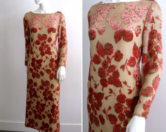 Gorgeous Vintage 1970s Richilene New York Silk Gown with Cut Velvet Flowers and Scoop Back