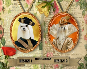 Maltese Dog  Jewelry. Maltese Pendant or Brooch. Maltese Necklace. Maltese Portrait. Custom Dog Jewelry by Nobility Dogs.Handmade Jewelry