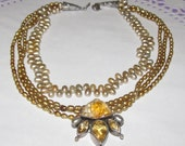 Vintage Echo of the Dreamer Necklace - Sterling Silver, Citrine and Pearls