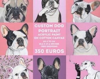 Custom Dog Portrait / 60x70 cm