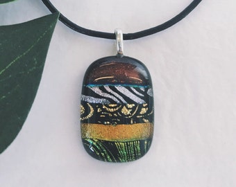 Dichroic glass pendant - Fused glass, Etched patterns, different shades orange, gold and red