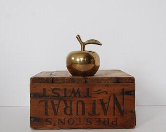 Vintage Brass Apple Bell, Teacher Gift, Brass Apple Figurine