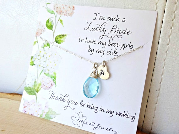 Custom gemstone bridesmaid necklace & message card gift sets, heart initial tag, Lucky Bride, Otis B, wedding jewelry, bridal necklaces
