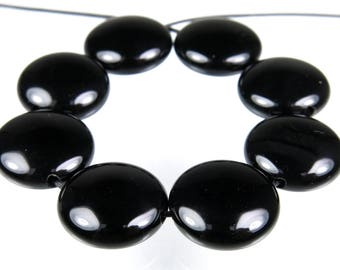Quality Permanently Dyed Black Agate Puffy Disc Bead - 13.5mm x 6mm - 8 beads - B6997