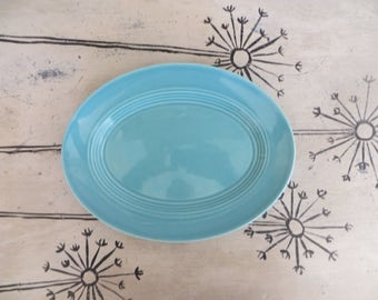Oval Bauer Ringware Plate Bauer Pottery Plate Turquoise Oval Plate