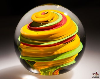 Handblown Glass Paperweight - Spiral Marble Pattern with Red Green Orange and Yellow