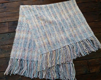 "Colorful ""Hudson bay"" handwoven shawl"