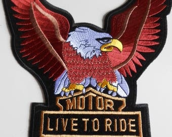 Eagle Motorcyclist Iron on Embroidered Large Applique