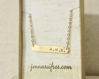 Dainty Gold Bar Necklace - Personalized 14k Gold Bar Necklace - Name Plate Necklace - Initials Necklace - Shimmering Gold Chain