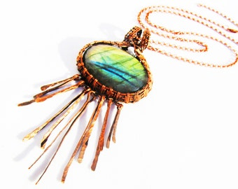 "Huge Tree of Life Pendant - Labradorite in Rustic Hand Woven Oxidized Copper Wire  with Hammered Fringe - 4.5"" x 2.5"" (120mm x 65mm)"