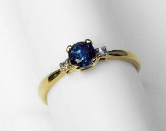 Color-Changing Blue Garnet and Diamond Ring in 10K Gold, Size 4.5
