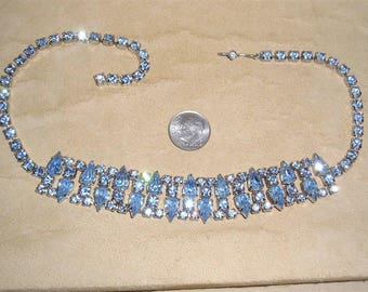 Vintage Blue Prong Set Tear Drop Rhinestone Choker Necklace 1950's Jewelry H34
