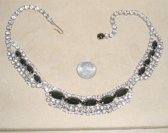 Vintage Necklace With Prong Set Black Glass Marquise Stones & Clear Rhinestones Choker 1960's Jewelry 10087