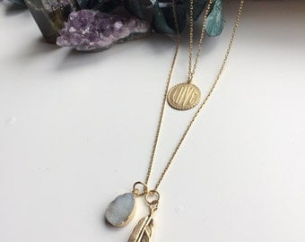 Handmade gold brass feather druzy crystal layering necklace