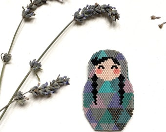 Lovely Beadwoven Brooch  Matrioshka with Two Braids Miyuki Delica Graphic Collection