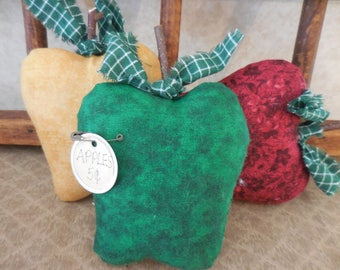 Primitive Apple Bowl Fillers Kitchen Decor Red Green Gold Delicious Apple
