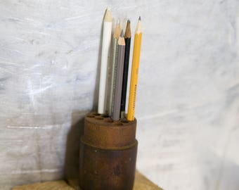Vintage Wooden Pencil Holder / Tool Display Container / Little Storage with Holes for Desktop Organization