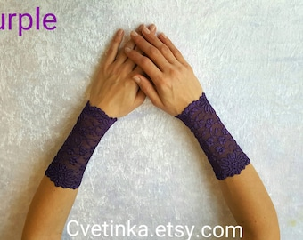 PURPLE FINGERLESS GLOVES Fingerless Lace Gloves Goth Gloves Bridal Gloves Lace Armwarmers Lace Sleeves Gothic Gloves Romantic Lace Gloves
