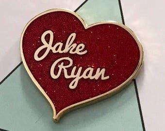 Jake Ryan glitter heart hard enamel pin