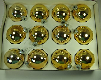 Vintage MERCURY Glass ORNAMENTS Set/12 Bright Gold Christmas Tree Holly Boxed