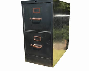 Vintage file cabinet,  metal, brushed and polished steel  cabinet with two drawers and golden hardware made to order