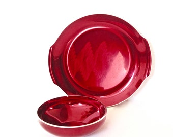 Metal Red Plate and Bowl - Olden Norway - Mid Century Modern - Anodized Aluminum -
