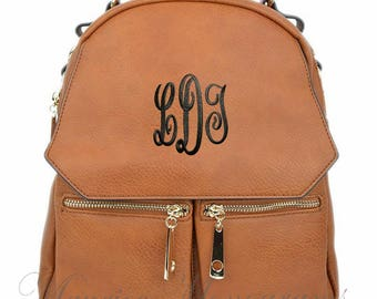 Personalized Camel Small Synthetic Leather Backpack Purse FREE Monogram