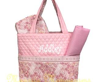 Personalized Light Pink Floral Diaper Bag Set- 3 piece set -  baby girl - Momogram Free