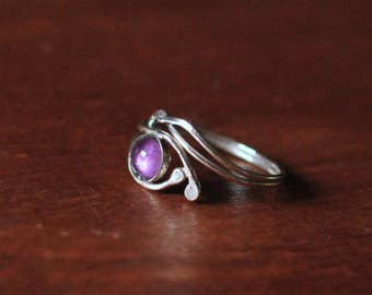 Adjustable Elven Style Sterling Silver and Amethyst Ring