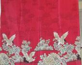 Asian Decor Fabric, Crane Chrysanthemum Scene on Brilliant Red, Border Print on Hoffman Silky Fabric, Vintage Fabric,