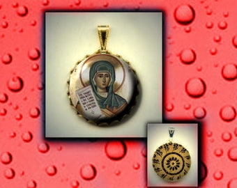 St HANNAH Patron Saint of childless wives and infertile women Orthodox Icon CABOCHON in Brass Charm / Pendant