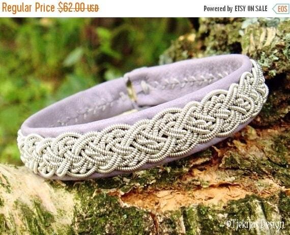 Swedish Viking Sami Tin Thread Leather Bracelet YGGDRASIL in Lavender Lambskin with Reindeer Antler button - Handcrafted Natural Elegance