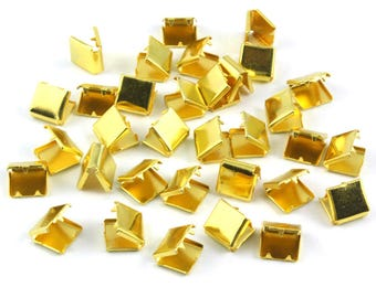100 Pieces 8*8mm Gold Flat Ribbon Clamp End Crimp [5/16 inch]  (J-EC8)
