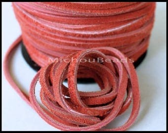 DESTASH Sale 2 Yards Genuine SUEDE Cord - Vintage Red 6 feet 3x1.8mm Distressed Split Suede Leather Natural Dye Color Lace Cord by the Yard
