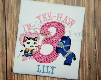 Yee Haw Sheriff Callie with Horse and Number - Appliqued and Personalized